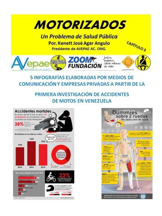 "Libro MOTORIZADOS ""Un Problema de Salud Pública"" Capítulo 3. / 5 Infografías por Medios de Comunicación y Empresas. Autor. Kenett J Agar AVEPAE AC ONG."