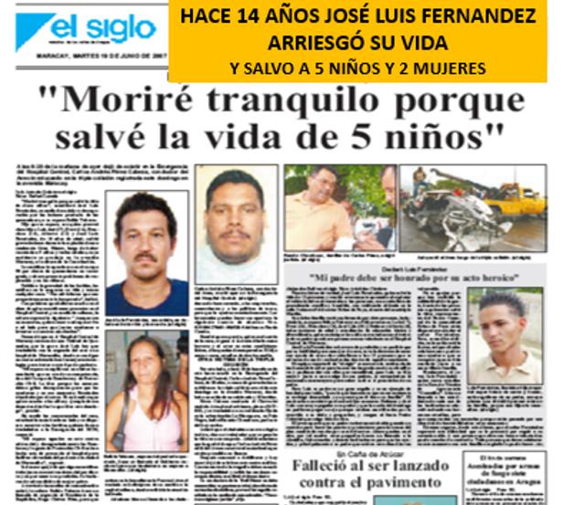 Motorizado Muere luego de Salvar a 5 niños y adultos en accidente vuelco e incendio de camioneta en Maracay. 17 de junio 2007