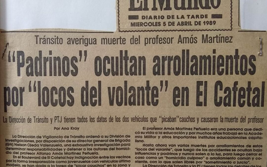 Arrollan al Prof. Alfonso Amós Martínez Peñuela en el Boulevard del Cafetal. Primera parte.  Agosto 2021 Por: AVEPAE AC ONG – Kenett Agar.